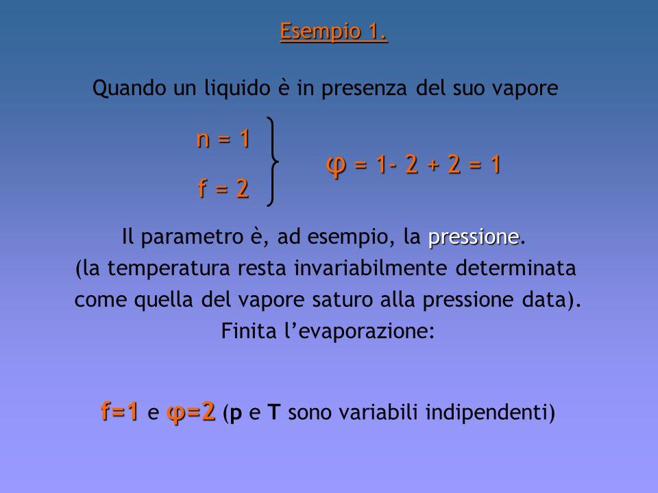 Esempio 1. Quando un liquido è in presenza del suo vapore. n = 1. φ = 1- 2 + 2 = 1. f = 2. Il parametro è, ad esempio, la pressione.