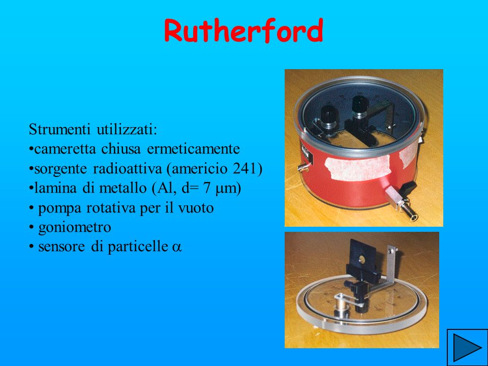 Rutherford Strumenti utilizzati: cameretta chiusa ermeticamente