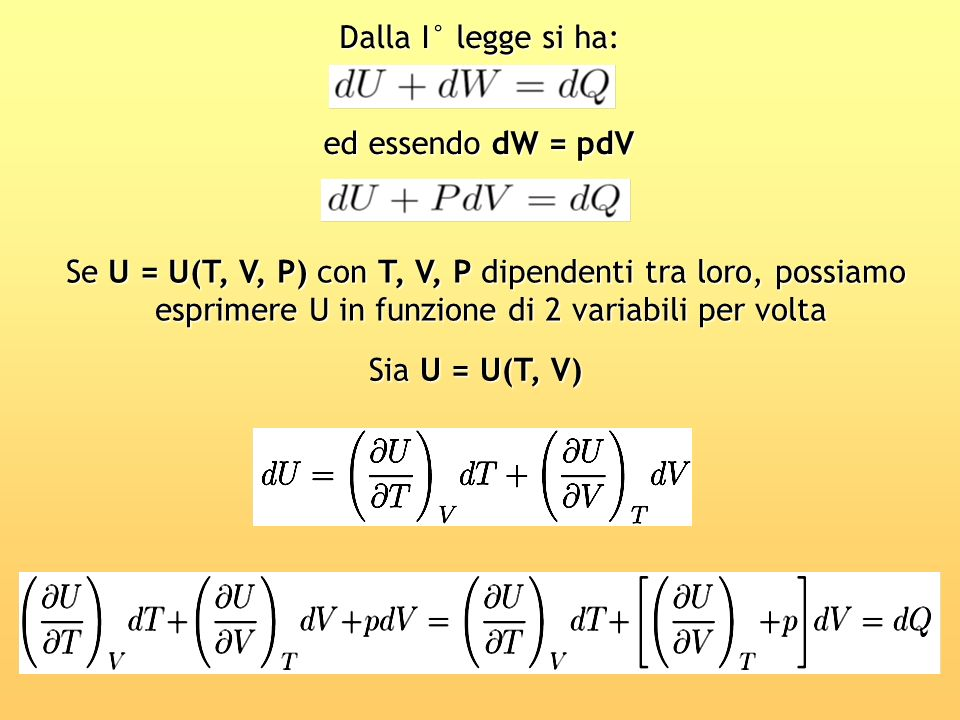 Se U = U(T, V, P) con T, V, P dipendenti tra loro, possiamo