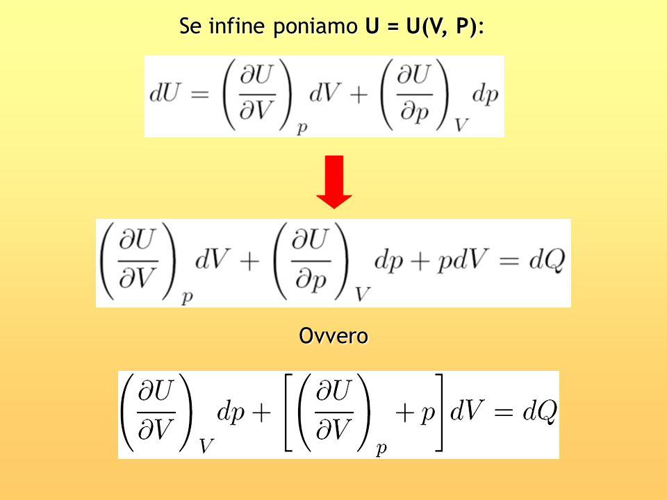 Se infine poniamo U = U(V, P):