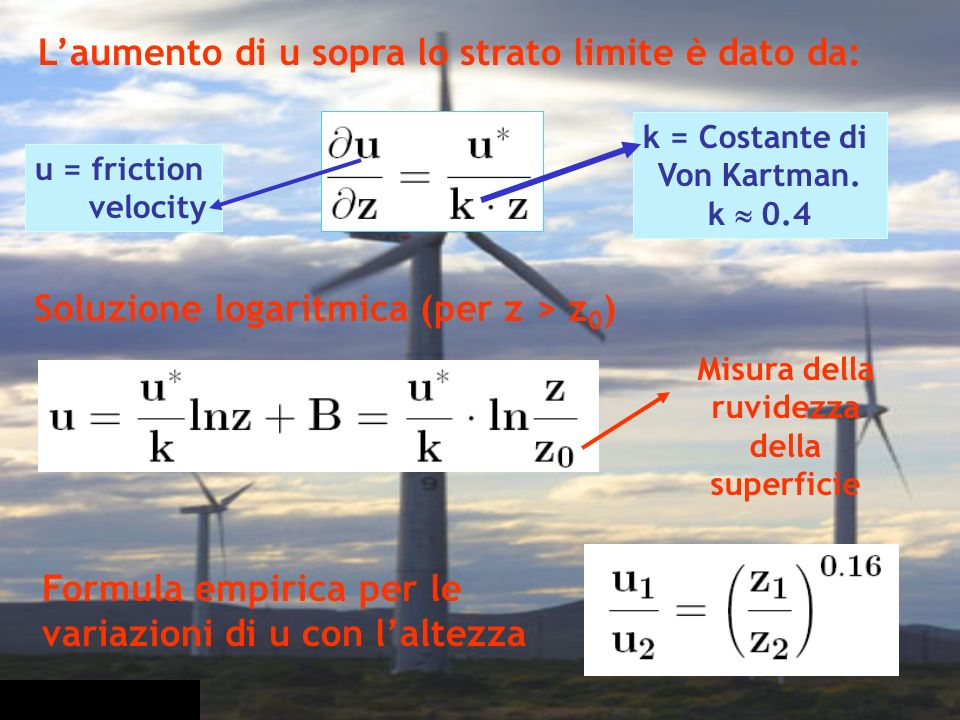 Soluzione logaritmica (per z > z0)