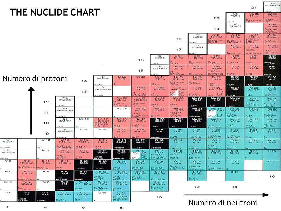 THE NUCLIDE CHART Numero di protoni Numero di neutroni