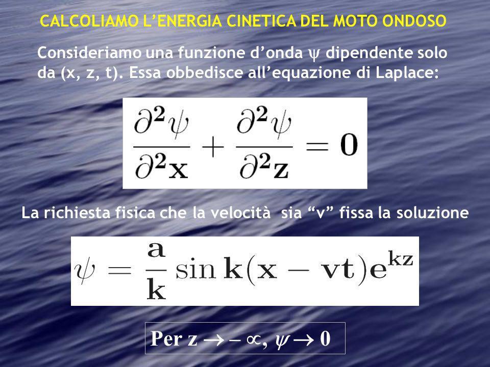 Per z  – ,   0 CALCOLIAMO L'ENERGIA CINETICA DEL MOTO ONDOSO