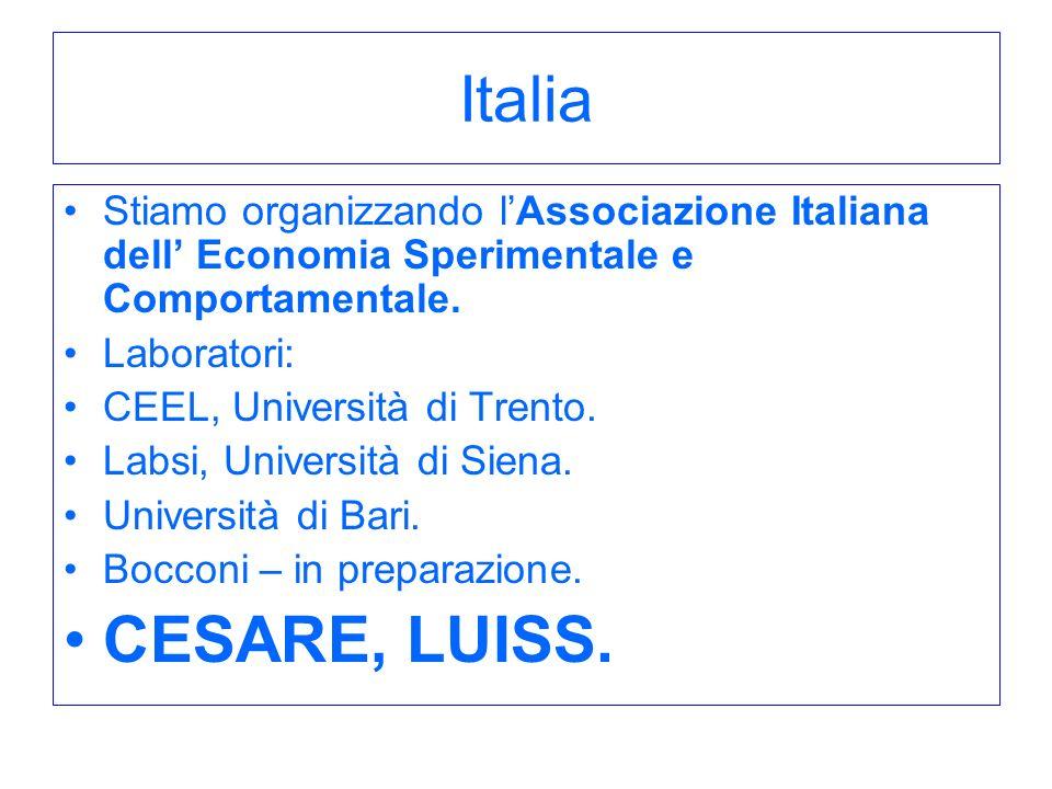 Italia Stiamo organizzando l'Associazione Italiana dell' Economia Sperimentale e Comportamentale. Laboratori: