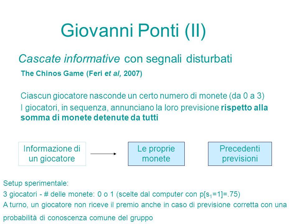 Giovanni Ponti (II) Cascate informative con segnali disturbati