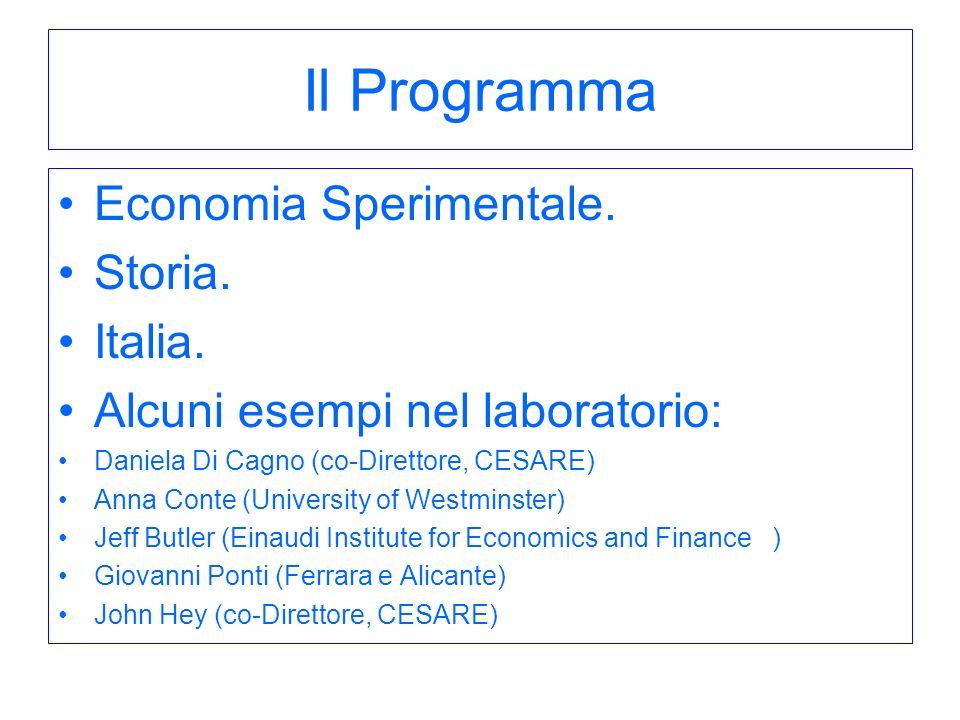 Il Programma Economia Sperimentale. Storia. Italia.