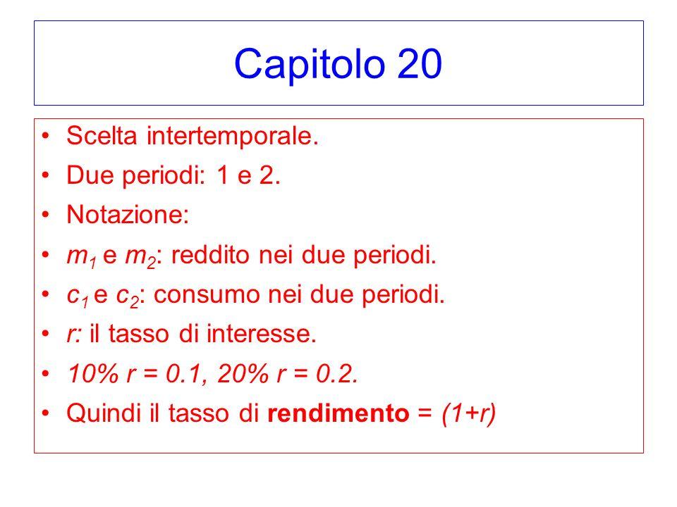 Capitolo 20 Scelta intertemporale. Due periodi: 1 e 2. Notazione: