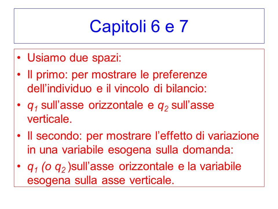 Capitoli 6 e 7 Usiamo due spazi: