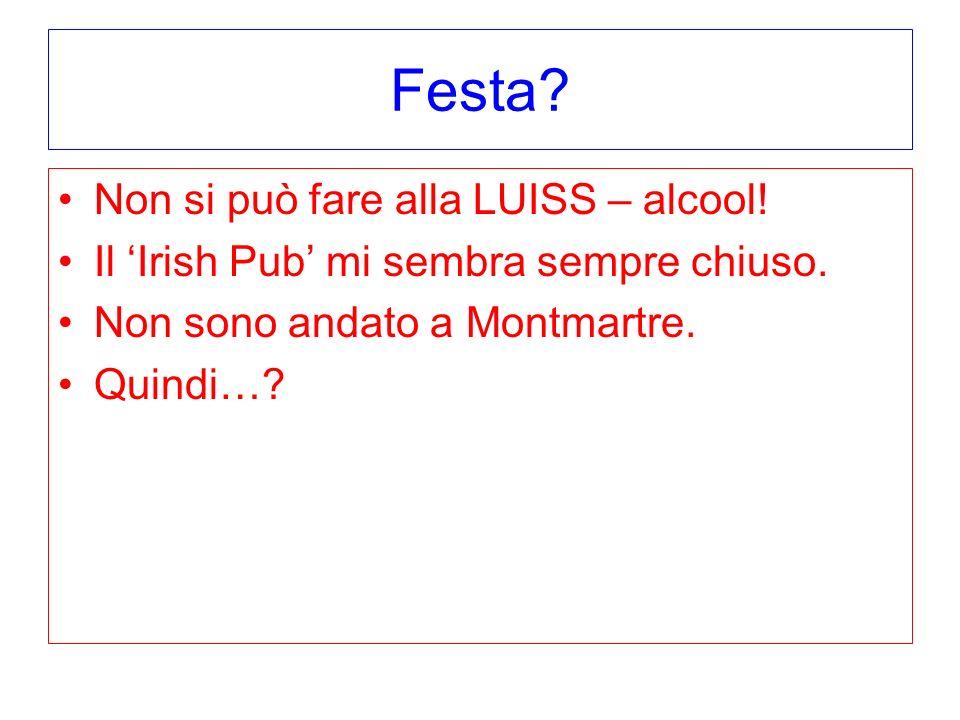 Festa Non si può fare alla LUISS – alcool!