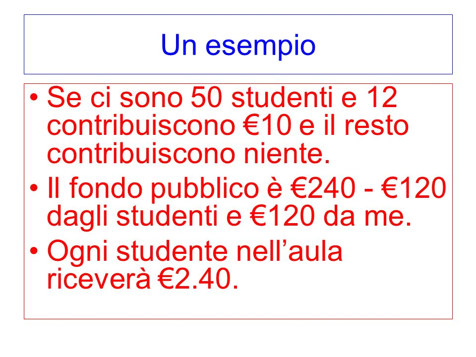 Un esempio Se ci sono 50 studenti e 12 contribuiscono €10 e il resto contribuiscono niente.