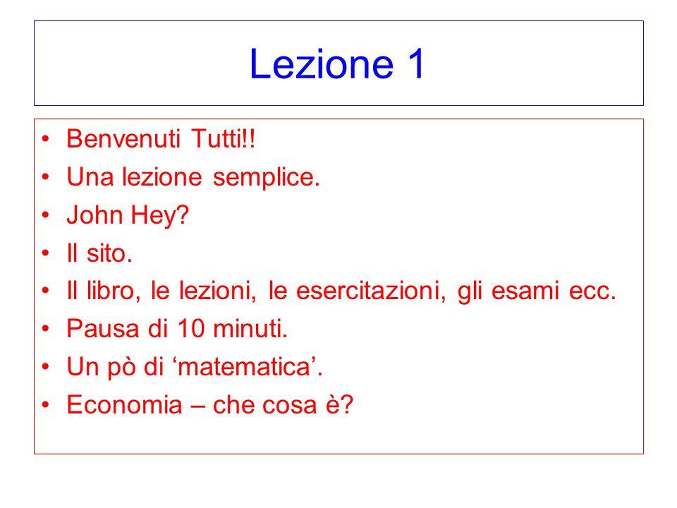 Lezione 1 Benvenuti Tutti!! Una lezione semplice. John Hey Il sito.