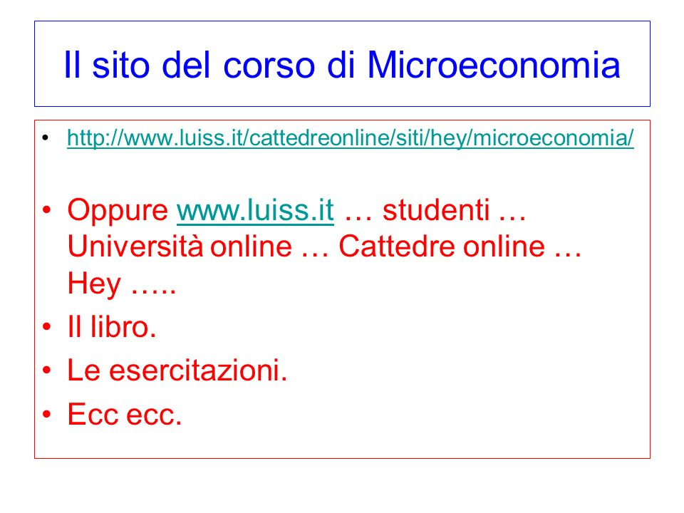 Il sito del corso di Microeconomia