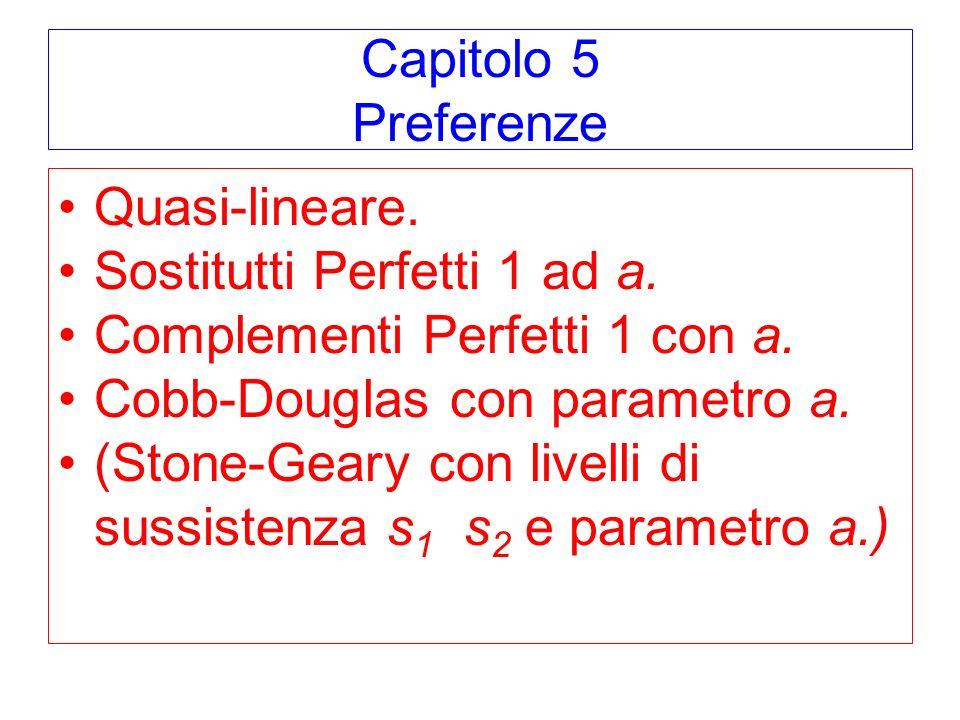 Capitolo 5 Preferenze Quasi-lineare. Sostitutti Perfetti 1 ad a. Complementi Perfetti 1 con a. Cobb-Douglas con parametro a.