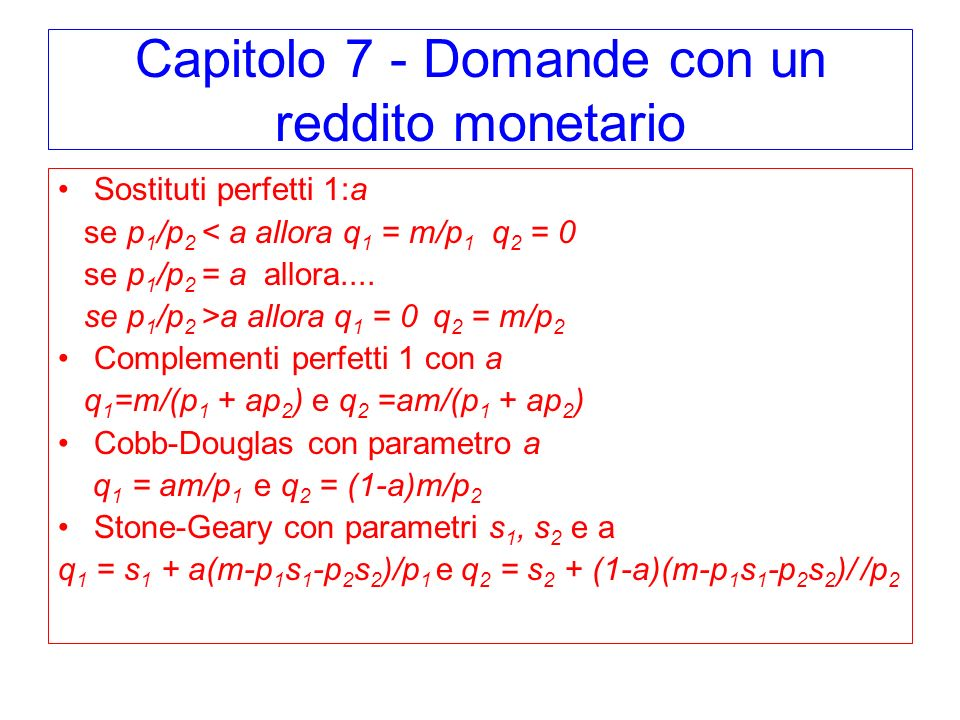 Capitolo 7 - Domande con un reddito monetario
