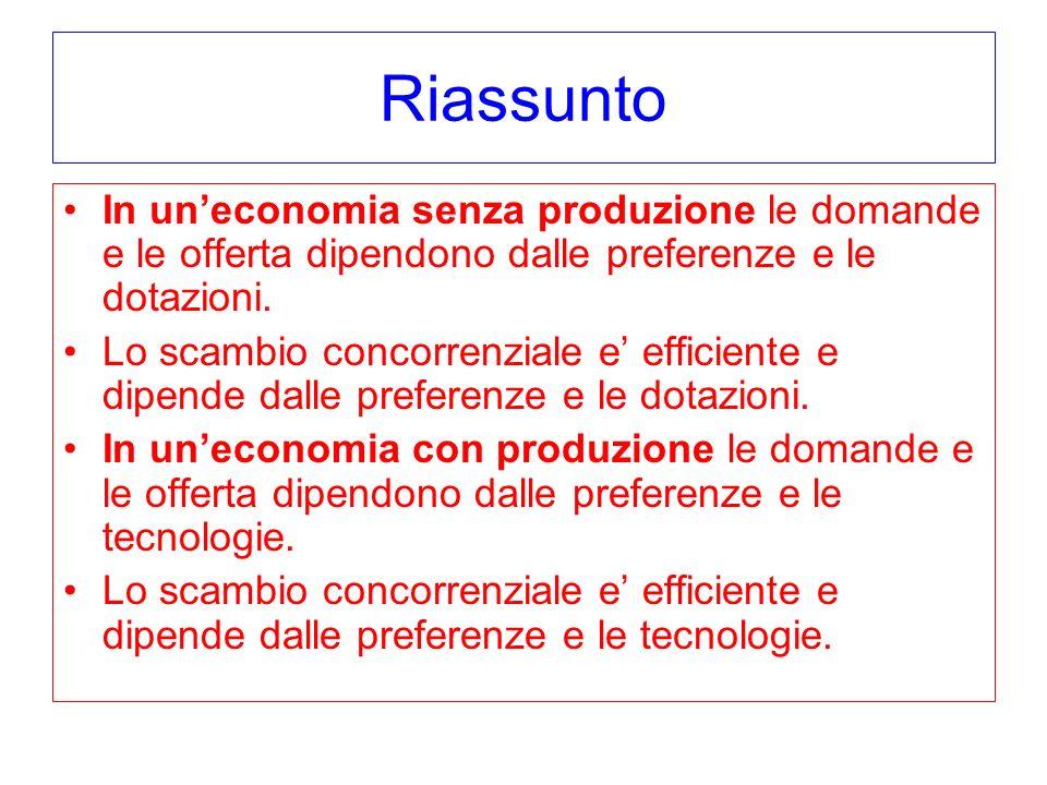 Riassunto In un'economia senza produzione le domande e le offerta dipendono dalle preferenze e le dotazioni.
