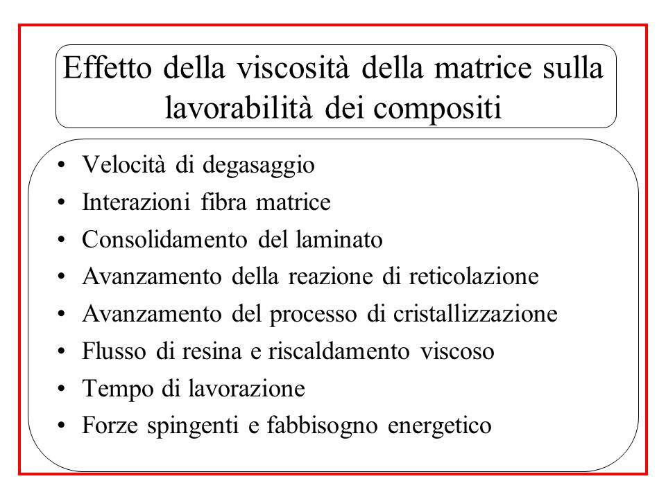 Effetto della viscosità della matrice sulla lavorabilità dei compositi
