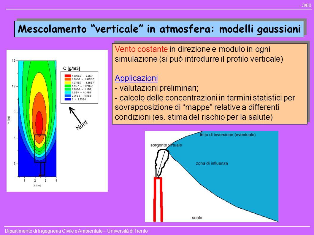 Mescolamento verticale in atmosfera: modelli gaussiani