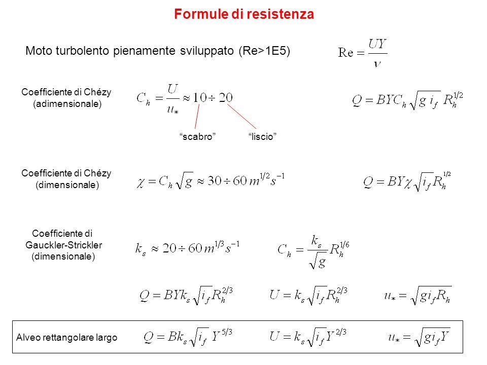 Formule di resistenza Moto turbolento pienamente sviluppato (Re>1E5) Coefficiente di Chézy. (adimensionale)