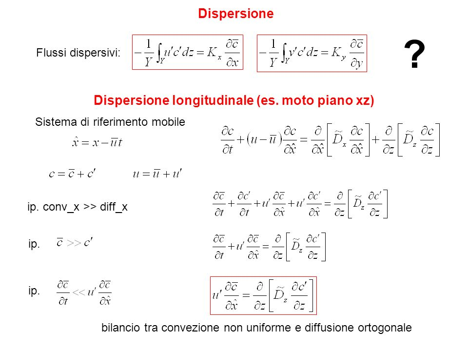 Dispersione longitudinale (es. moto piano xz)