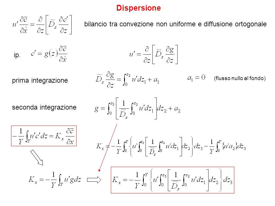 Dispersione bilancio tra convezione non uniforme e diffusione ortogonale. ip. prima integrazione.