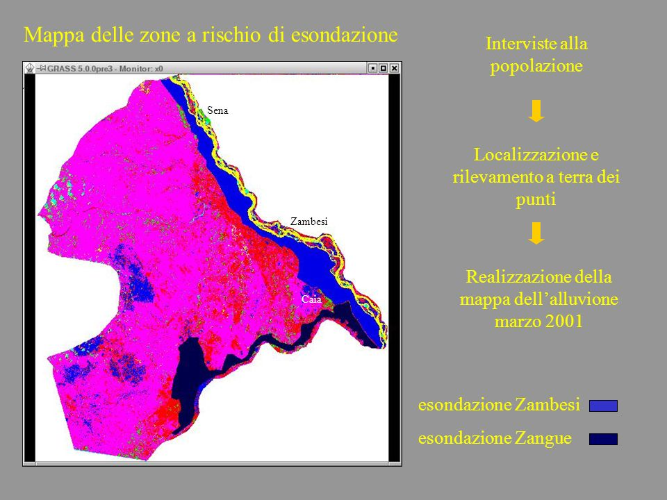 Mappa delle zone a rischio di esondazione