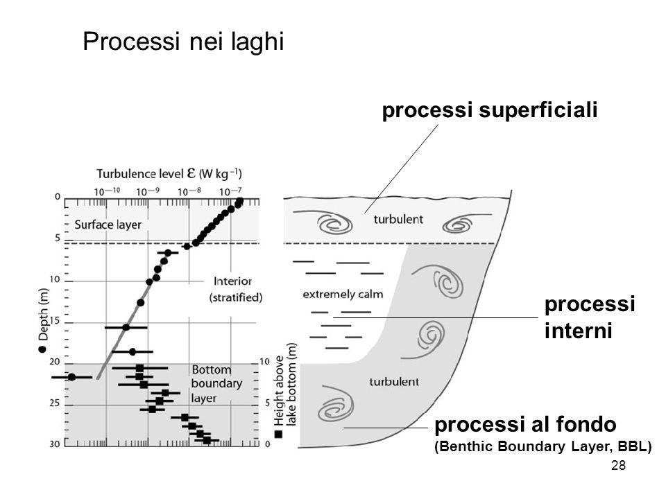 Processi nei laghi processi superficiali processi interni