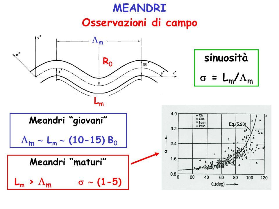 MEANDRI Osservazioni di campo sinuosità  = Lm/m