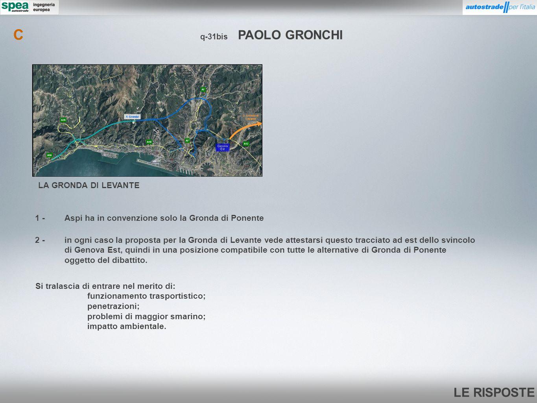 Cq-31bis PAOLO GRONCHI. LA GRONDA DI LEVANTE. 1 - Aspi ha in convenzione solo la Gronda di Ponente.