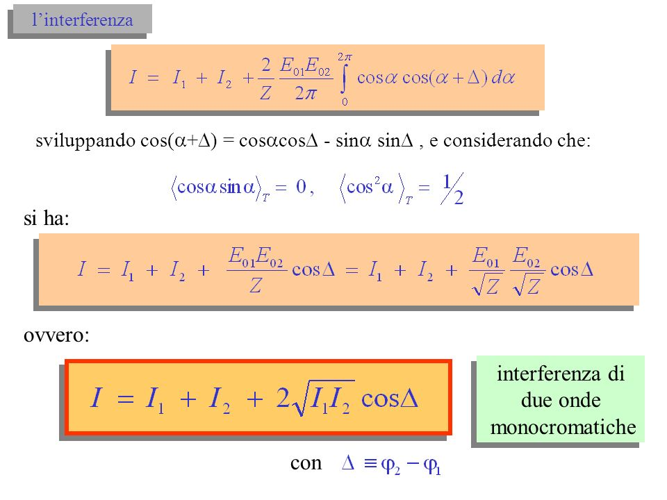 si ha: ovvero: interferenza di due onde monocromatiche con