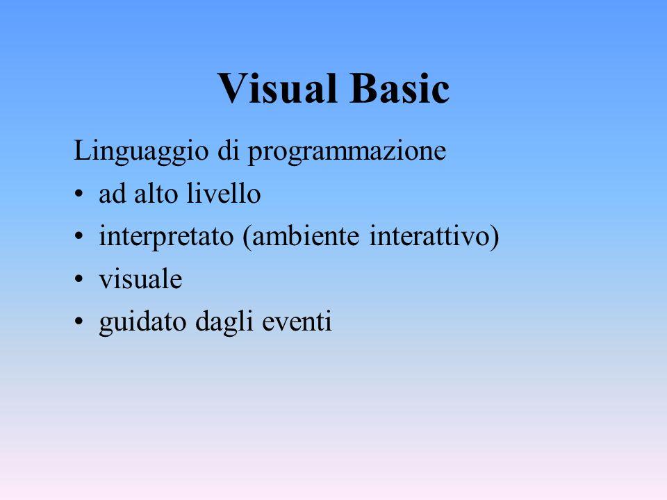 Visual Basic Linguaggio di programmazione ad alto livello