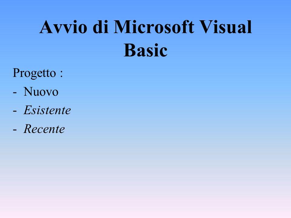 Avvio di Microsoft Visual Basic