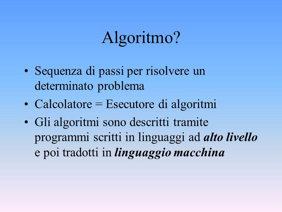 Algoritmo Sequenza di passi per risolvere un determinato problema