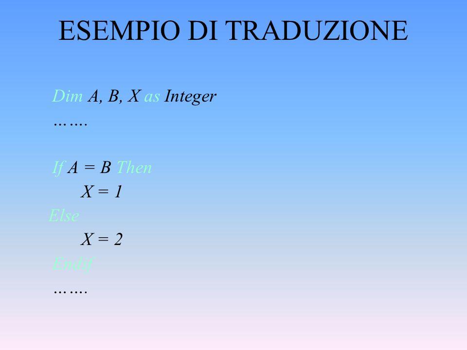 ESEMPIO DI TRADUZIONE ……. If A = B Then X = 1 Else X = 2 Endif