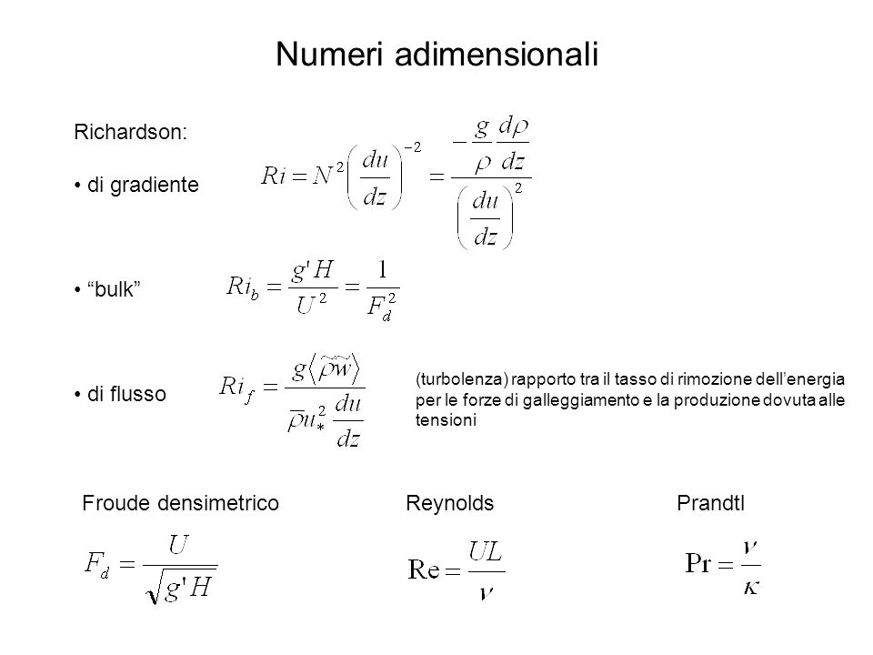 Numeri adimensionali Richardson: di gradiente bulk di flusso