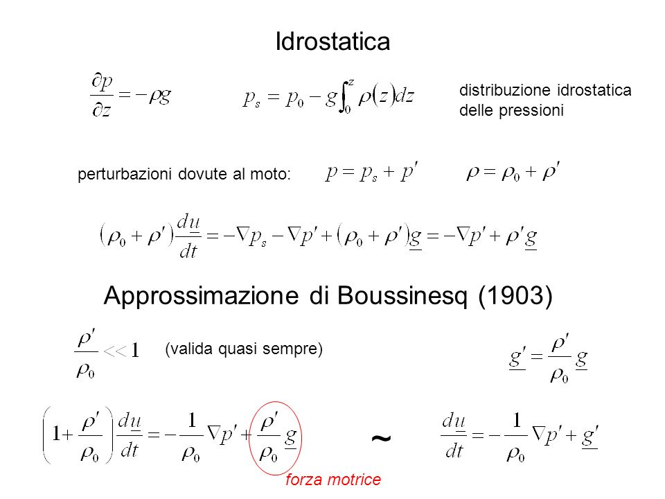 ~ Idrostatica Approssimazione di Boussinesq (1903)