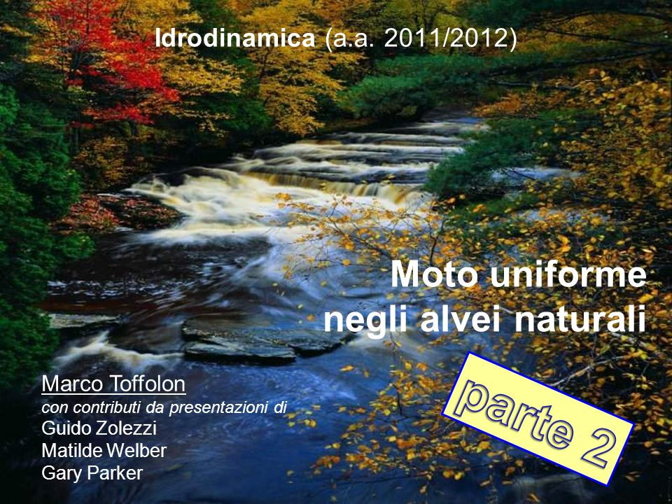 parte 2 Moto uniforme negli alvei naturali