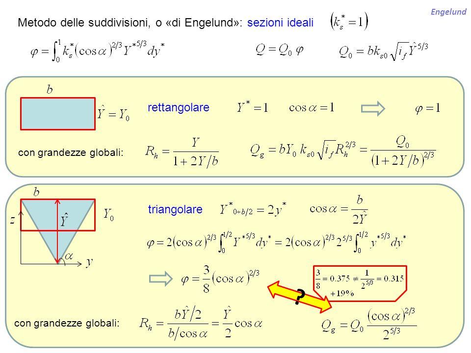 Metodo delle suddivisioni, o «di Engelund»: sezioni ideali