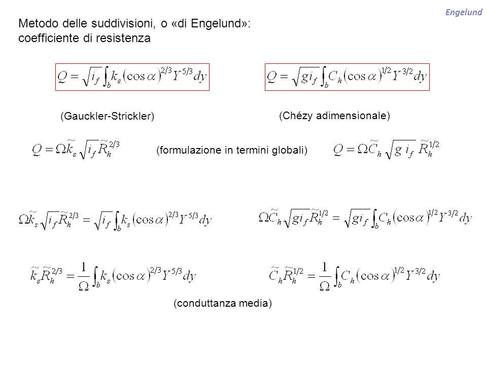 Metodo delle suddivisioni, o «di Engelund»: coefficiente di resistenza