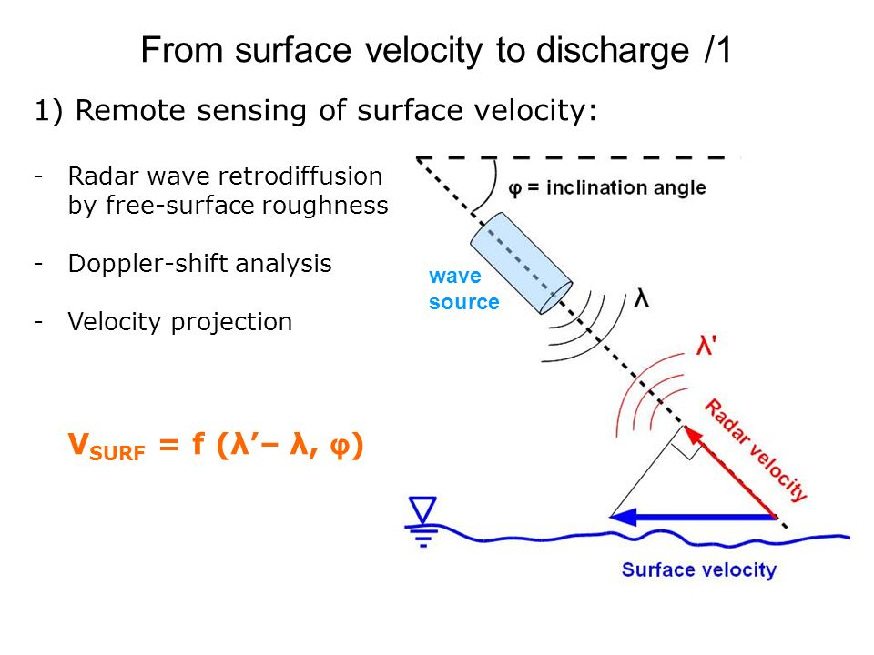 From surface velocity to discharge /1