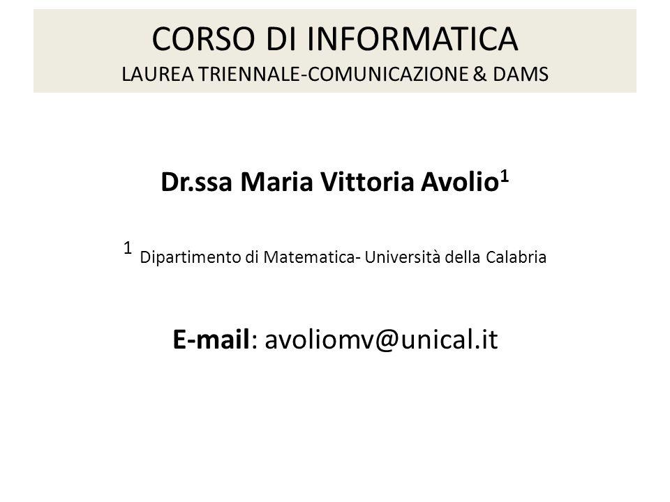 CORSO DI INFORMATICA LAUREA TRIENNALE-COMUNICAZIONE & DAMS
