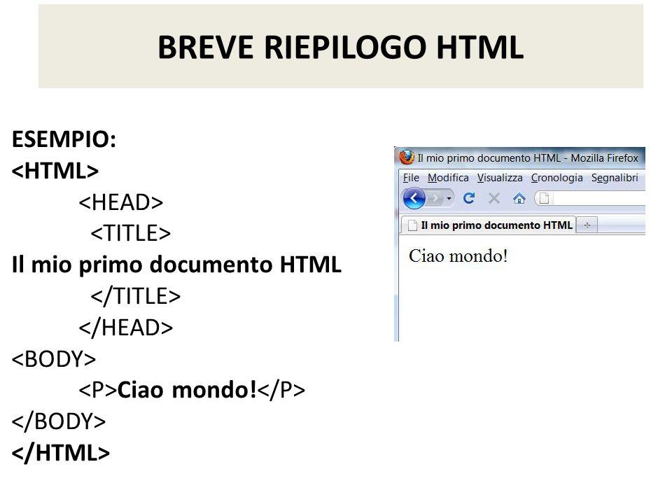 BREVE RIEPILOGO HTML ESEMPIO: <HTML> <HEAD> <TITLE>