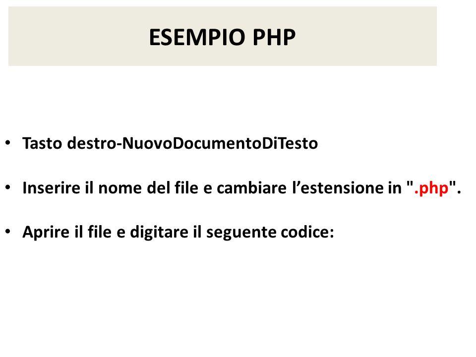 ESEMPIO PHP Tasto destro-NuovoDocumentoDiTesto