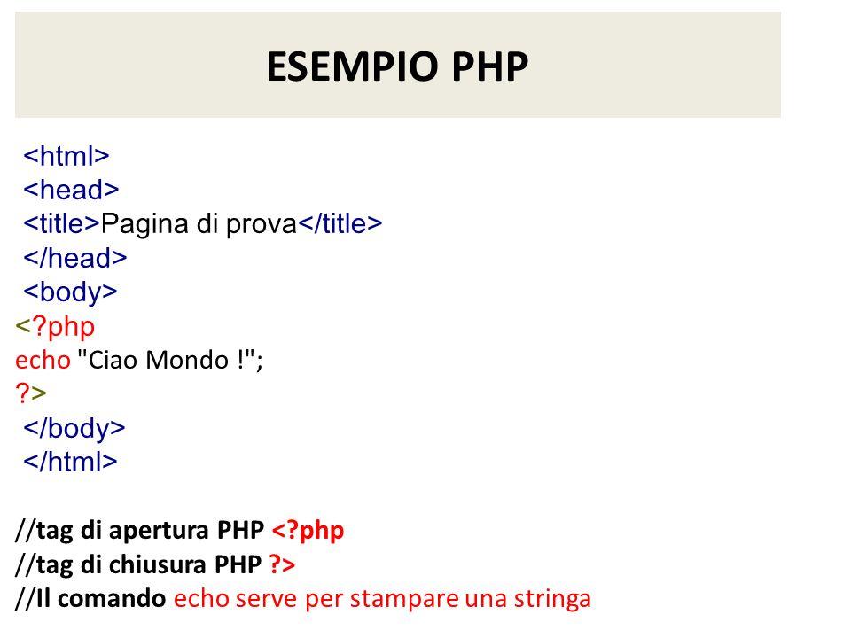 ESEMPIO PHP <html> <head>