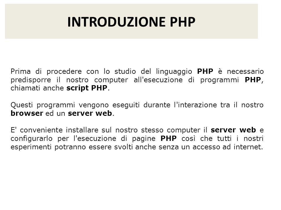 INTRODUZIONE PHP