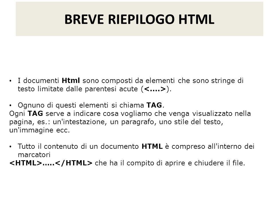 BREVE RIEPILOGO HTML I documenti Html sono composti da elementi che sono stringe di testo limitate dalle parentesi acute (<....>).