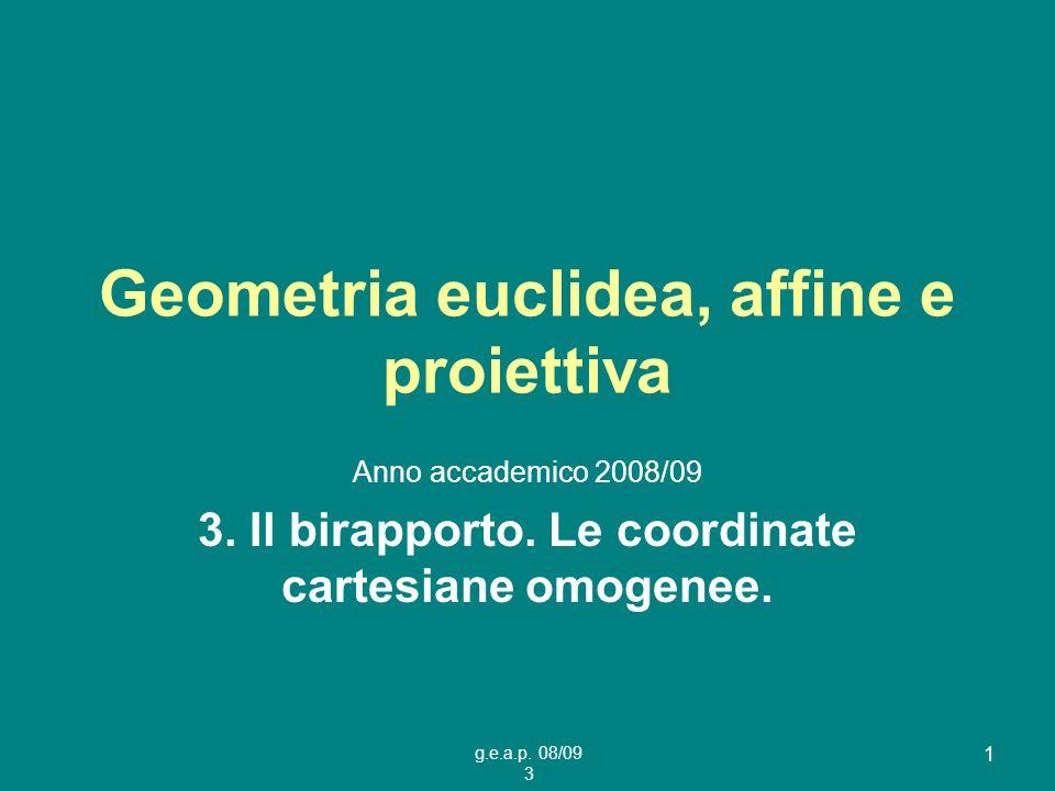 Geometria euclidea, affine e proiettiva