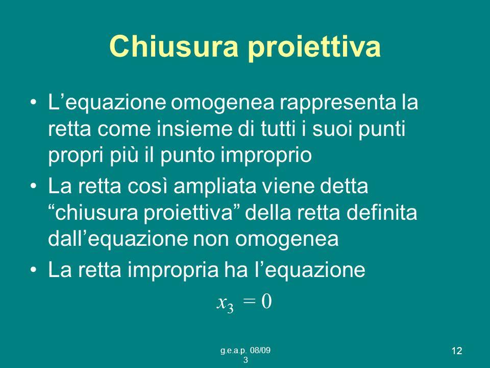 Chiusura proiettiva L'equazione omogenea rappresenta la retta come insieme di tutti i suoi punti propri più il punto improprio.