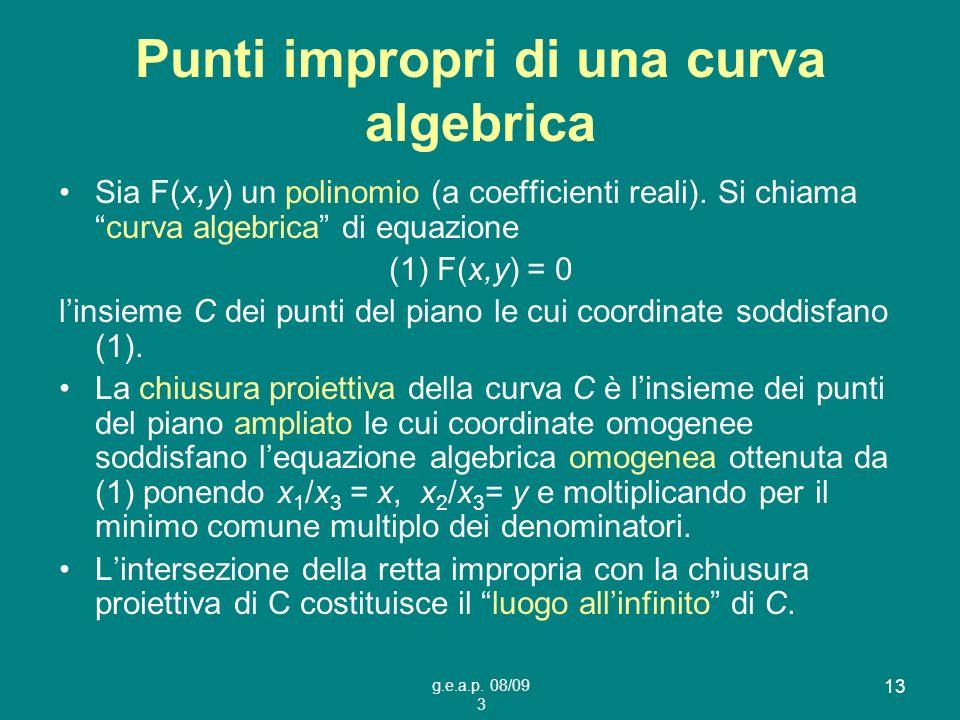 Punti impropri di una curva algebrica