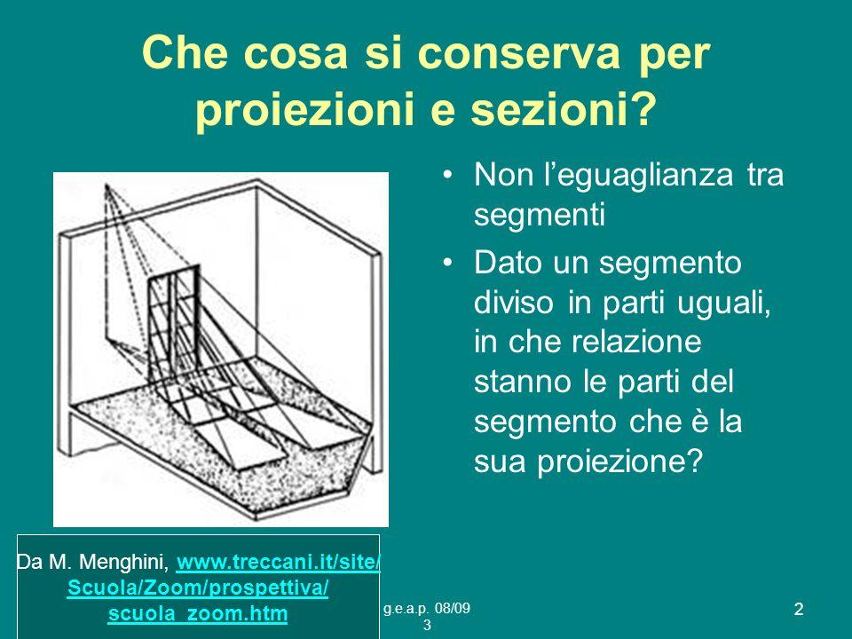 Che cosa si conserva per proiezioni e sezioni