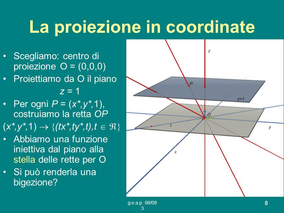 La proiezione in coordinate